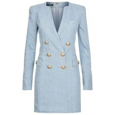 Balmain Denim Gold Button Long Sleeve Dress (6.955 RON) ❤ liked on Polyvore featuring dresses, balmain dress, blue tuxedo, tux dress, blue dress and tuxedo dress