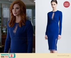 Donna's blue lace keyhole dress on Suits.  Outfit Details: http://wornontv.net/35030/ #Suits