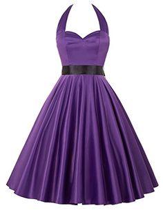 2016 New 1950s Style Vintage A-line Evening Dress Purple JS6046-5_XL * Click image for more details.