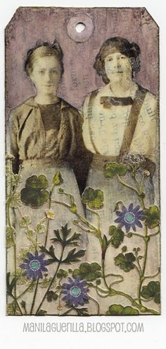 Wallflowers, tag Bee Images, Le Jolie, Paper Tags, Artist Trading Cards, Vintage Tags, Triptych, Card Tags, Tag Art, Fabric Art