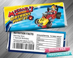 Mickey Roadster Racers Candy Bar Wrapper