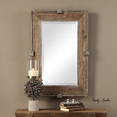 A rustic blend of reclaimed wood and iron make the Uttermost Siringo Weathered Wood Wall Mirror - x in. the ideal addition to your farmhouse. Uttermost Mirrors, Mirrors Wayfair, Rustic Mirrors, Rustic Frames, Wood Panel Walls, Wood Wall, Natural Mirrors, Thing 1, Weathered Wood