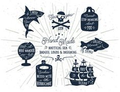 Nautical Typography Sea Ocean Quotes Set. Motivational Retro Style Badges. Vector distressed texts for Web Projects, Tee Design, T-Shirt printing. Hand lettering hipster slogans graphic collection. #handlettering #graphicdesign #design #logos #badges #insignia #teedesign #t-shirt #nautical #vector #shark #bottle #pirate #ship #fish #globe #quotes #quote #inspirational