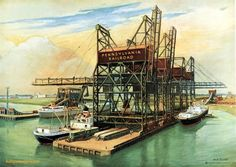 """""""Vital Links to World Trade"""" Ore dock and unloading facilities at Pier 122, South Philadelphia, Milepost 7."""
