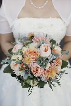 succulent bridal bouquet | Orange & Peach Wedding / peach and succulent bouquet // photo by ...