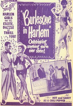 "Circa 1949: ""Burlesque in Harlem"" showcard."