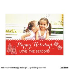 "Modern red scalloped winter ""Happy Holidays"" Christmas flat photo card"