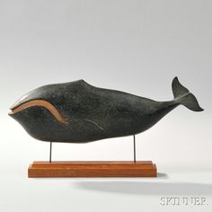 Carved and Painted Wooden Right Whale Plaque. | Auction 2880B | Lot 434 | Sold for $1,599