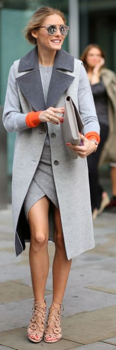 Grey Bi Tone Long Line Coat