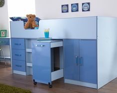 Ottawa 2 Tone Blue Mid Sleeper Storage Bed - Boys Childrens Bedroom Furniture