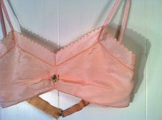 1920s Pink Silk Flapper Bra Lingerie Embroidered in by SLVintage