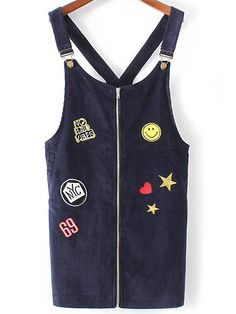 Buy it now. Navy Patch Detail Zipper Overall Dress. Navy Casual Polyester Sleeveless Shift Short Zip Fall Pinafore Dresses. , vestidoinformal, casual, camiseta, playeros, informales, túnica, estilocamiseta, camisola, vestidodealgodón, vestidosdealgodón, verano, informal, playa, playero, capa, capas, vestidobabydoll, camisole, túnica, shift, pleat, pleated, drape, t-shape, daisy, foldedshoulder, summer, loosefit, tunictop, swing, day, offtheshoulder, smock, print, printed, tea, babydolldre...