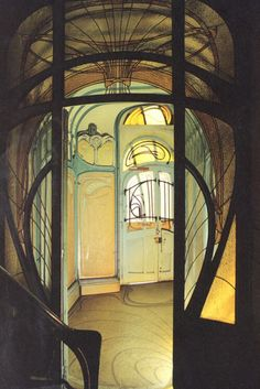 "Hector Guimard (French, 1867-1942) Maison Coilliot, Lille, France, 1898-1900 Guimard designed this building as a ""live/work"" space and ceramic studio. The fireplace and exterior decoration are a combination of enameled lava and ceramics."