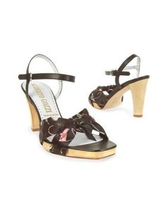 Black Shoe Print Silk Platform Sandal Shoes by ALBERTO GOZZI