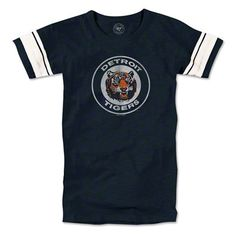 Detroit Tigers womens fall navy '47 brand gametime vintage 'tiger head' scrum tee.  fans edge. size - med