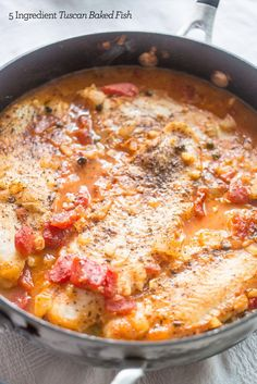 5 Ingredient tuscan baked fish- this one pot meal is a delicious, easy dinner the whole famil will love!