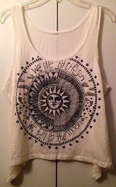 Celestial Sun and Moon sleeveless crop tee top sz medium or large on Etsy, $18.00