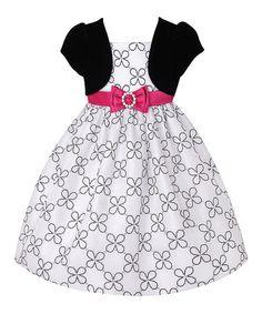 Look what I found on #zulily! White & Black Flower Mock-Shrug Dress & Bloomers - Infant #zulilyfinds