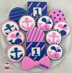 Preppy Nautical Cookies, whale cookies, anchor cookies, preppy cookies, pink and blue cookies, nautical cookies, first birthday cookies, bow tie cookies