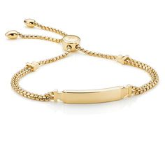 Monica Vinader Gold Vermeil Baja Deco ID Bracelet - Gold (1.255 RON) ❤ liked on Polyvore featuring jewelry, bracelets, gold id bracelet, monica vinader jewellery, gold chain jewelry, gold jewelry and id bracelet