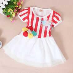 Korean Princess Style Baby Girls Dress 2014 Summer Fashion Striped Patchwork Ball Gown Infant's Short Sleeve O-neck Cute Dress $17.29