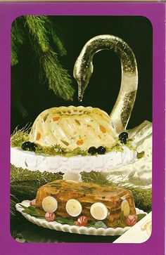 The ice swan prepares for attack, while the lower mystery loaf tries to wheel… Jello Recipes, Old Recipes, Vintage Recipes, Gross Food, Weird Food, Vintage Ads, Vintage Food, Creepy Vintage, Vintage Cooking