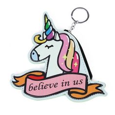 """Adorable Cutout Rainbow Unicorn """"Believe in Us"""" Keychain Coin Purse with Zippered Closure and Keyring"""