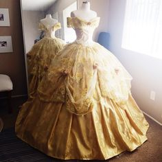 Disney Inspired Deluxe Belle Ball Gown from Beauty and the Beast ($2,039) ❤ liked on Polyvore featuring dresses, gowns, gold evening gowns, ball dresses, yellow gold dress, ball gowns and gold evening dresses