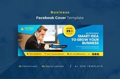 Business Facebook Cover Template AI, EPS Facebook Cover Template, Busy At Work, Growing Your Business, Templates, Stencils, Vorlage, Models