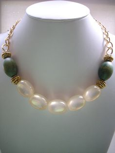 Chunky Vintage Oval Opulent Beads, Olive Green Wooden Beads and Antique Gold Bead Necklace