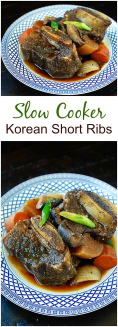 Slow cooker galbijjim (Korean beef short ribs) -fall off the bone tender meat in a rich, slightly sweet and savory sauce!