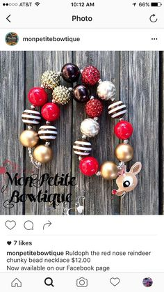 Chunky Bead Necklaces, Chunky Beads, Beaded Necklace, Beaded Bracelets, Red Nosed Reindeer, Earrings, Jewelry, Beaded Collar, Ear Rings