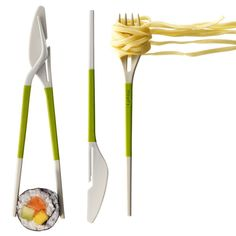 This Twin One cutlery set by DesignWright for Lekue blends a fork and knife with a pair of chopsticks. The set represents the ultimate in multifunctional eating utensils: Diners can use the fork and knife normally until they require a pair of chopsticks, Gadgets And Gizmos, Cool Gadgets, Baby Gadgets, Electronics Gadgets, Kitchen Utensils, Kitchen Gadgets, Kitchen Tools, Jeremy Wright, Le Manoosh