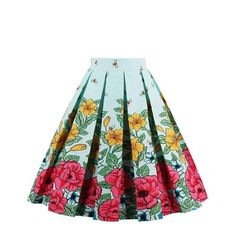 Sensfun Womens Fashion Floral Print Pleated Retro Vintage 50s Skirts Pinup  60s Cotton Summer Rockabilly High 056c21f9a