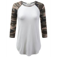 URBANCLEO Womens Hipster Hip Hop 3/4 Sleeves Camo Baseball Raglan... ($28) ❤ liked on Polyvore featuring tops, t-shirts, baseball t shirt, 3/4 sleeve tops, 3/4 sleeve baseball tee, camo tee and raglan baseball tee