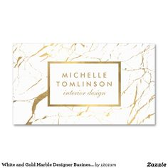 White and Gold Marble Interior Designer Business Card