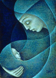 Mother and Child (Blue) - J. Kirk Richards