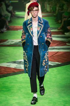 Gucci Spring/Summer 2017- embroidered suede coat