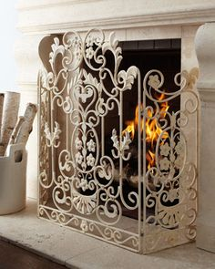 Antiqued-White Fireplace Screen for the home