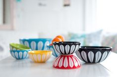 """The Iconic """"Lotus"""" pattern is resurrected, but now ceramic, which is dishwasher safe. The pattern is designed by Norwegian Arne Clausen, early and we recognize it from Cathrine Holm and Grete Prytz Kittilsen. Modern Colors, Ceramic Bowls, Simple Designs, Decorative Bowls, Lotus, Ceramics, Tableware, Home Decor, Denmark"""