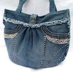 Denim patchwork shoulder bag de POPPY PATCHWORK sur DaWanda.com