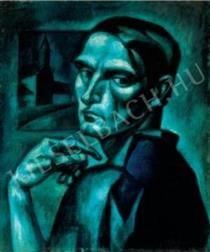 Blue Self-Portrait - Kmetty János Art Database, Cubism, Selfie, Artist, Blue, Painting, Fictional Characters, Artworks, Portraits