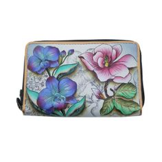 Anuschka Twin Zip Around Organizer Wallet Hand Painted Leather Floral Fantasy -- Check out the image by visiting the link. Front Pocket Wallet, Zip Wallet, Zip Around Wallet, Pouch, Original Artwork, Original Paintings, Wallet Pattern, Painting Leather, Minimalist Wallet