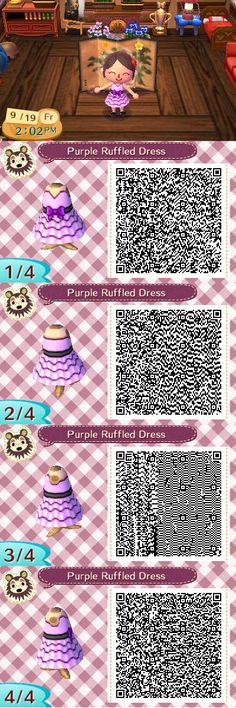 Purple Ruffled Dress .:ACNL Design:. by 1bookfish