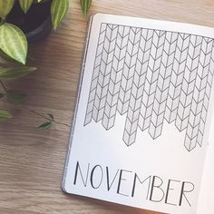 Bullet journal monthly cover page, November cover page, geometric drawing. @abulletandsomelines