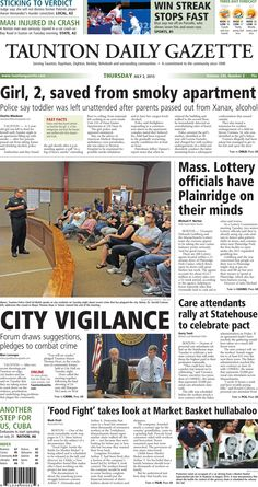 The front page of the Taunton Daily Gazette for Thursday, July 2, 2015.