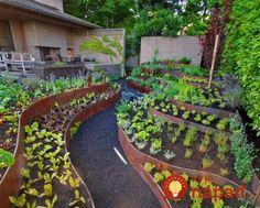 Garden Types Garden Edging How To Do It Like A Pro im garten integrieren Backyard Garden Landscape, Hillside Landscaping, Garden Landscape Design, Terrace Garden, Modern Landscaping, Landscaping Rocks, Sunken Garden, Steep Backyard, Herb Garden