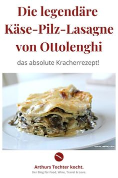 Crazy recipe for mushroom and cheese lasagna from Ottolenghi from the cookbook 'Enjoyable vegetarian' - Steak Recipes Mushroom Recipes, Veggie Recipes, Pizza Recipes, Beef Recipes, Great Recipes, Vegetarian Recipes, Drink Recipes, Lasagna Recipe With Ricotta, Easy Lasagna Recipe