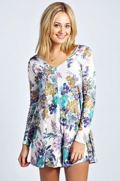 Saffy Tapestry Floral Print Swing Playsuit