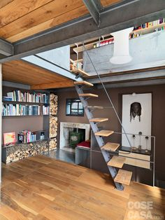 cost of architect to draw house plans Industrial Home Design, Industrial House, Industrial Interiors, Loft Design, Design Case, House Design, Loft Stairs, House Stairs, Style At Home